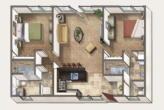 Floor Plan for Aina Nalu Premier Platinum Condo A110