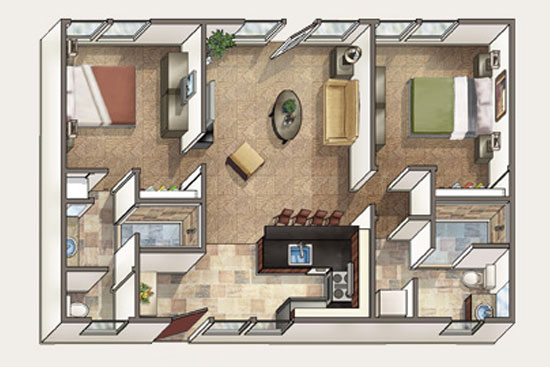 Floor Plan for Aina Nalu Premier Platinum Condo K107