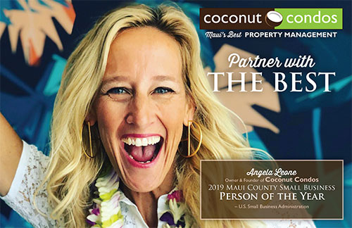 Angela Leone getting Maui County Small Business Person of the Year award in 2019