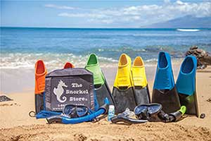 Maui Snorkel Bundle includes flippers and snorkel masks