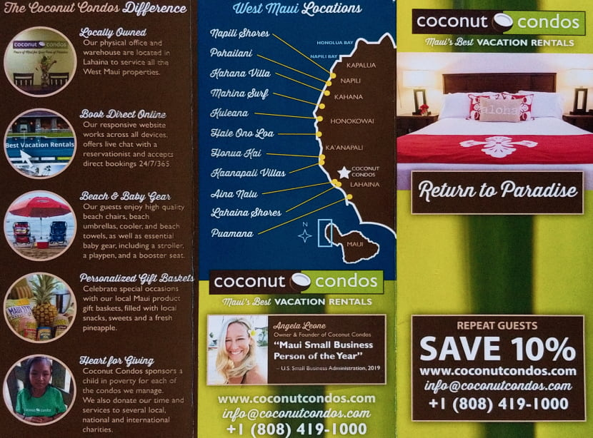 Coconut Condos West Maui vacation rental locations map