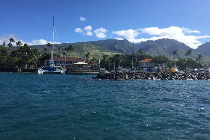 Lahaina, Maui, Lahaina Harbor and West Side Mountains, view from the ocean.